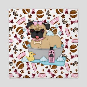 Pug Dog Bath Time Queen Duvet
