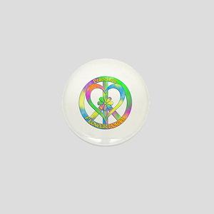 Peace Love Flower Power Mini Button