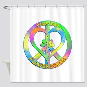 Peace Love Flower Power Shower Curtain