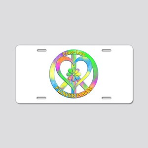 Peace Love Flower Power Aluminum License Plate