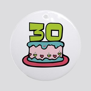 30th Birthday Cake Ornament (Round)