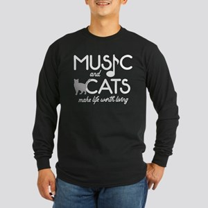 Music and Cats Long Sleeve Dark T-Shirt