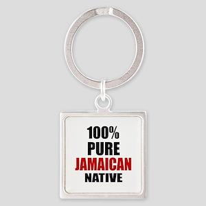 100 % Pure Jamaican Native Square Keychain