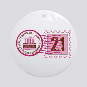Birthday Stamp 21 Ornament (Round)