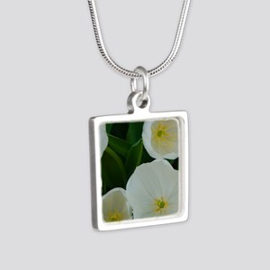 white flowers Silver Square Necklace