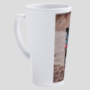 Black Pug in the Park 17 oz Latte Mug