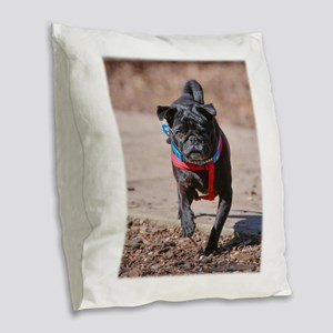 Black Pug in the Park Burlap Throw Pillow