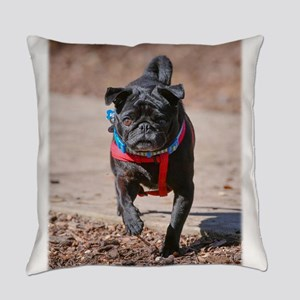 Black Pug in the Park Everyday Pillow
