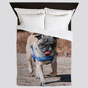 Pug On The Move Queen Duvet