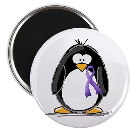 Purple Ribbon Penguin Magnet