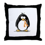 Orange Ribbon Penguin Throw Pillow