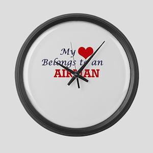 My Heart Belongs to an Airman Large Wall Clock