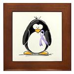 Lavender Ribbon Penguin Framed Tile