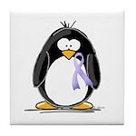Lavender Ribbon Penguin Tile Coaster