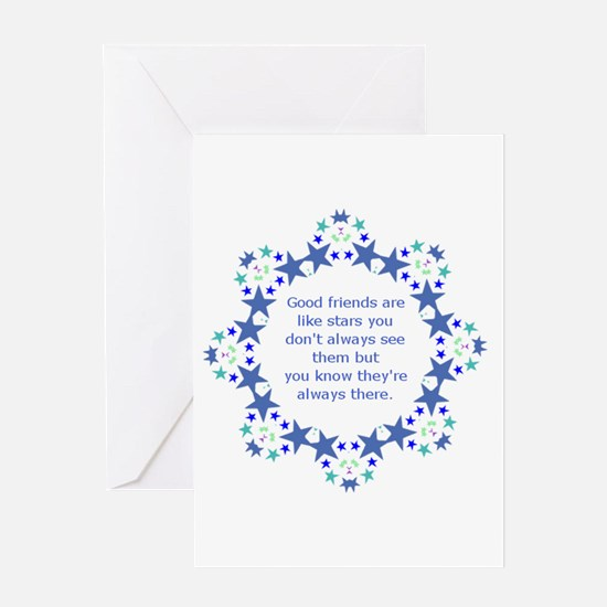 Friends are Like Stars Friendship Q Greeting Cards