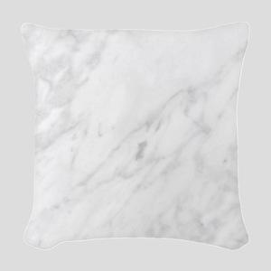 White Marble Woven Throw Pillow