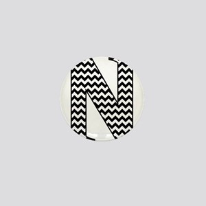 Black and White Chevron Letter N Monog Mini Button