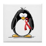 Red Ribbon Penguin Tile Coaster