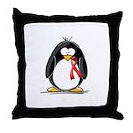 Red Ribbon Penguin Throw Pillow