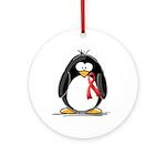 Red Ribbon Penguin Ornament (Round)