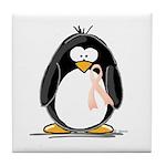 Peach Ribbon Penguins Tile Coaster