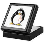 Peach Ribbon Penguins Keepsake Box
