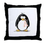 Peach Ribbon Penguins Throw Pillow
