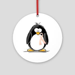Peach Ribbon Penguins Ornament (Round)