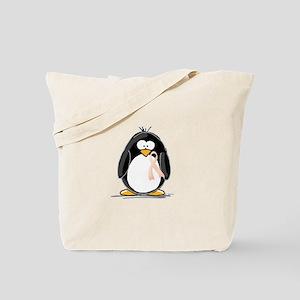 Peach Ribbon Penguins Tote Bag