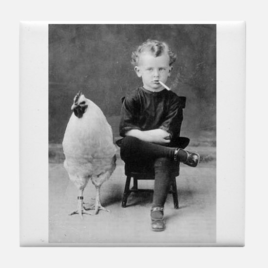 Funny Vintage French Photo Chicken Sm Tile Coaster