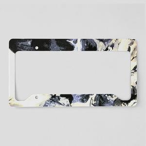 minimalist white marble water License Plate Holder