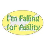 Falling for Agility Oval Sticker