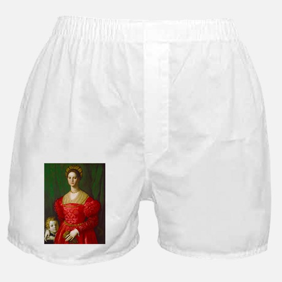 A Young Woman and Her Boy by Agnolo B Boxer Shorts