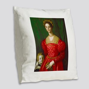 A Young Woman and Her Boy by A Burlap Throw Pillow