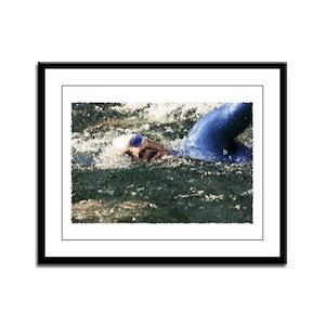 OPEN WATER SWIMMER Framed Panel Print