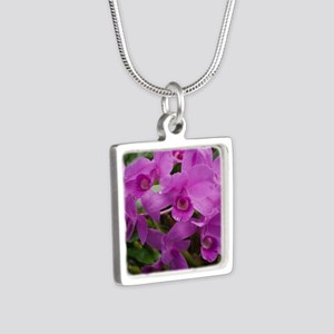 pink flowers Silver Square Necklace
