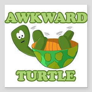 "Awkward Turtle Square Car Magnet 3"" x 3"""