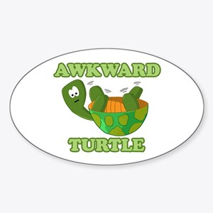 Awkward Turtle Sticker (oval)