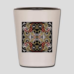 modern red,gold,black,white pattern Shot Glass