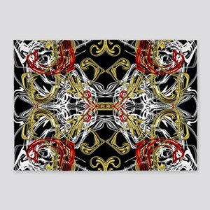 modern red,gold,black,white pattern 5'x7'Area Rug