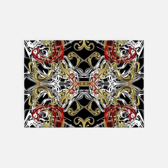 modern red,gold,black,white pattern 5'x7'Area Rug
