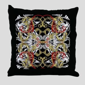 modern red,gold,black,white pattern Throw Pillow