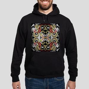 modern red,gold,black,white pattern Hoodie (dark)