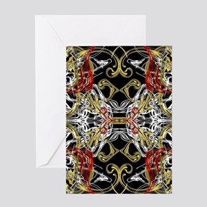 modern red,gold,black,white pattern Greeting Cards