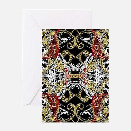 modern red,gold,black,white pattern Greeting Cards