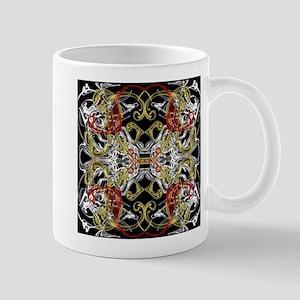 modern red,gold,black,white pattern Mugs