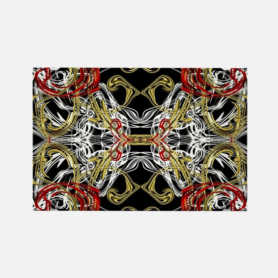 modern red,gold,black,white pattern Magnets