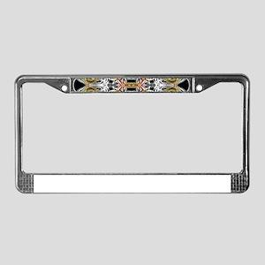 modern red,gold,black,white pa License Plate Frame