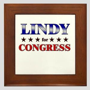 LINDY for congress Framed Tile