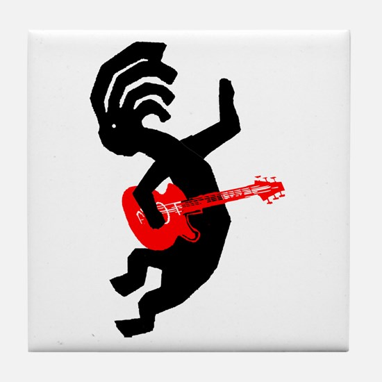 Kokopelli Guitar Tile Coaster